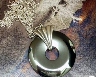 Gifts for Her, Hematite Hemalyke Donut Pendant Necklace, Large Sterling Silver Seashell Design Bail, Silver Figaro Chain