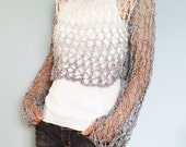 Knitting Pattern  Shades of Grey Knit Crop Top Loose Ombre Summer Knit Lace Thumb Hole Sweater