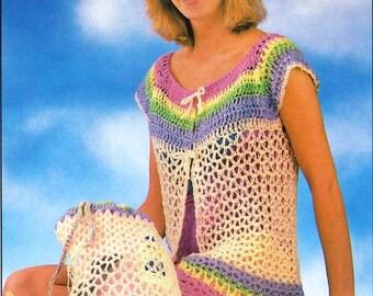 Crochet Beach Cover up Pattern, Crochet Beach Bag Pattern, Crochet Coverup Pattern, Crochet Headband,   Digital Download