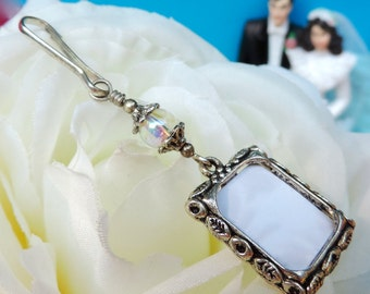 Wedding bouquet photo charm. Small picture frame and rainbow bead memorial charm. Bridal bouquet charm. Gift for the bride.