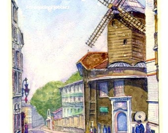 Vintage Watercolour - MOULIN de la GALETTE - PARIS France- was a Famous Cabaret -Genuine paint on paper- Signed & dated 1953- Good condition