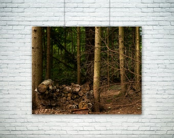 Nature Photography, Country Art, Rustic Home Decor, Country Photo, Woodpile Print, Fine Art Print