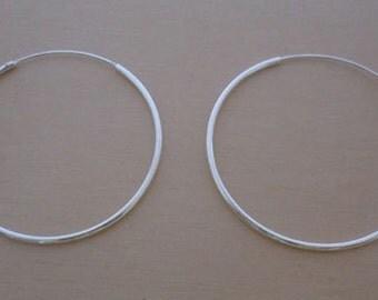 925 Sterling Silver HOOP Earrings, 40 mm Diameter & 2 mm Thickness
