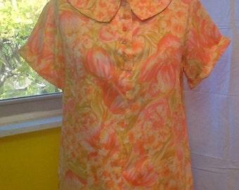 1960's vintage orange floral blouse.