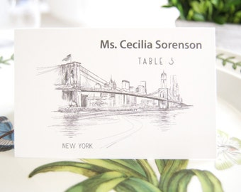New York Skyline Folded Place Cards (Set of 25 Cards)