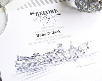 Savannah Skyline Rehearsal Dinner Invitations (set of 25 cards)