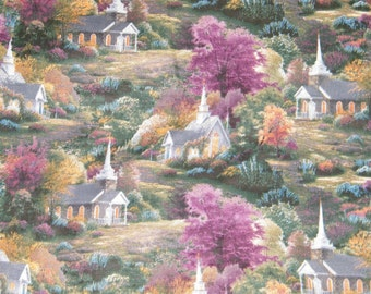 Beautiful BTY Thomas Kinkade CHAPELS 100% Cotton Quilt Craft Fabric by the Yard