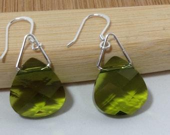 Crystal Earrings, Swarovski Earrings, Dangle Earrings, Drop Earrings, Olive Green SS00111