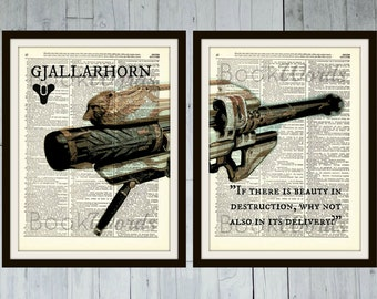 "Destiny Exotic Weapon - ""GJALLARHORN"" Rocket Launcher - 2 Page, Antique Dictionary Book Page Art Prints"