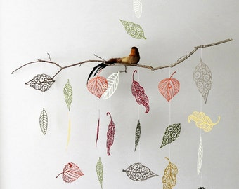 Colorful Leaf Mobile - Fall decor- branch mobile, home decor, bird on branch, natural mobile, kids, baby mobile.