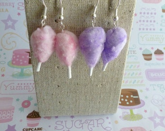 Cotton Candy Miniature Food Jewelry Earrings Carnival Earrings Fairy Floss Candy Floss Food Jewelry
