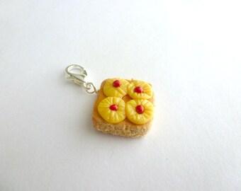 Pineapple Upside Down Cake Miniature Food Jewelry Maraschino Cherries Dessert Charm