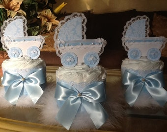 Baby Boy carriage centerpieces/Baby blue mini diaper cakes set/ Boy baby shower centerpieces