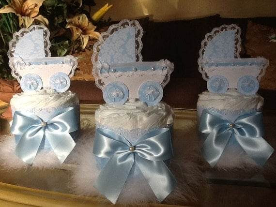 Items similar to baby boy carriage centerpieces blue