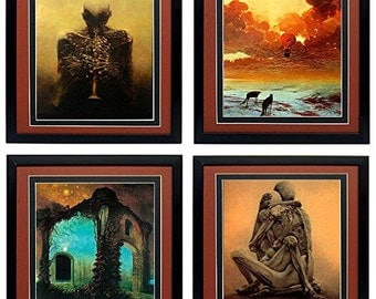 Framed Beksinski Master Set of  Surreal Art Poster Lovers