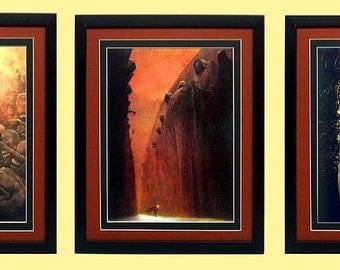 Beksinski Surreal Art Poster Set Framed & Mated Finest Quality
