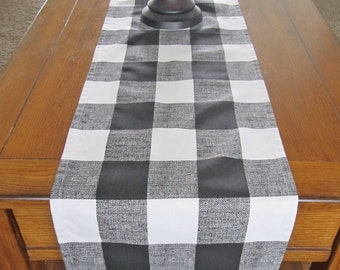 Black Table Runner, Buffalo Check, Large Gingham Table Runner, Black And  White Table