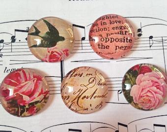 Set of 5 Vintage Glass Magnets, Fridge Magnets