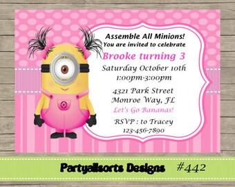 DIY - Minion Girls Pink Invitations