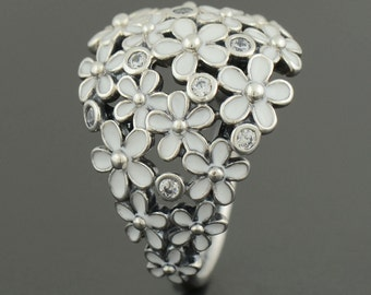new Authentic Genuine Pandora Silver Daisy Bouquet Ring - 190936EN12-54 Size 54 NEW