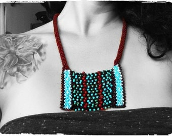 Bead crochet breastplate statement necklace
