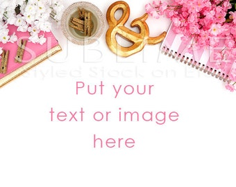 Styled Stock Photography / Pink and Gold / Digital Background / Stock Photography / Styled Desktop / Digital Image / StockStyle-530