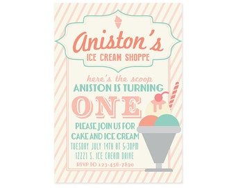 Ice Cream Theme Birthday Invitation - 5x7