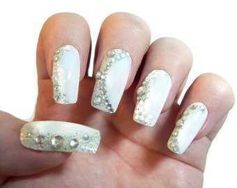 White Wedding Fake nails, False nails, Artificial nails, Acrylic nails, Custom nail set, Press on nails, Glue on nails, Fashion Nails.