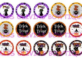 45 Assorted  Halloween Bottle cap images~Digital Download~Set Of 3 Digital Sheets