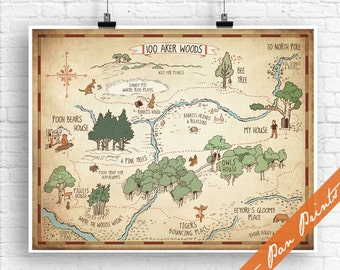 100 Aker Wood - Winnie the Pooh Map Print (Unframed) (featured in Treasure Map) Kids Art Posters and Gifts