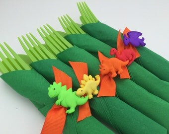 Dinosaur Flatware, Dinosaur Party Cutlery and Napkin Set, Dinosaur Theme Party Tableware, Dinosaur Party Supplies