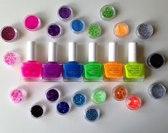 Disco Pop Neon 10ml Nail Polish with Nail Art set - available as a Single, Duo or Trio