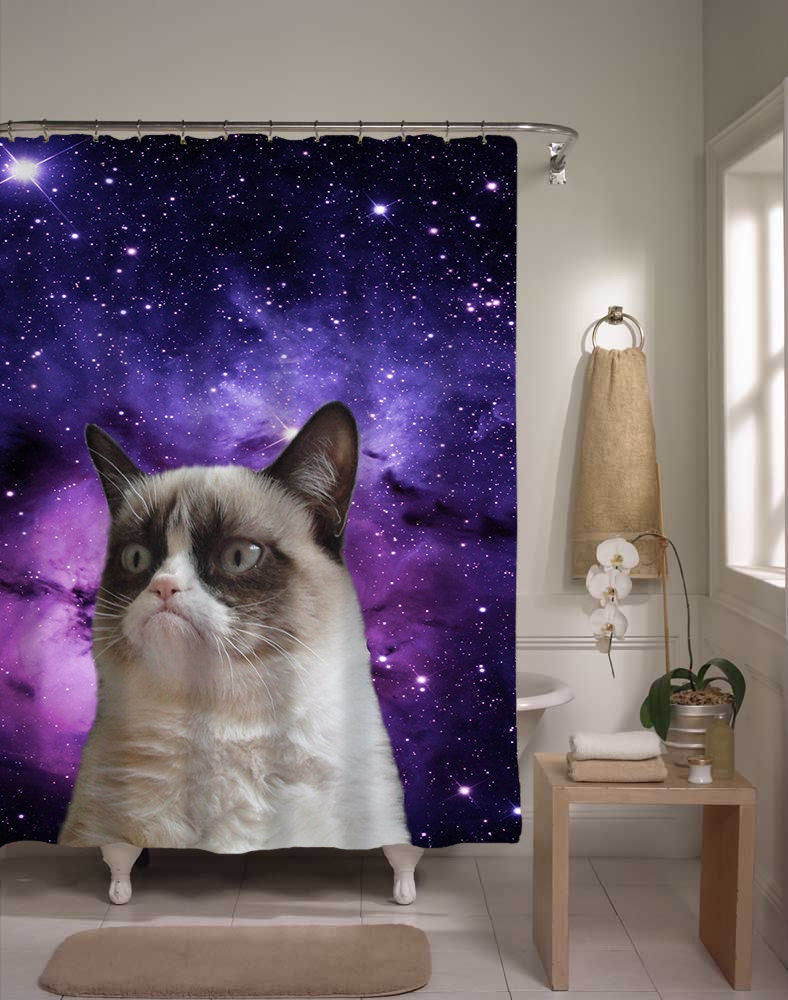 Grumpy cat shower curtain epic cat in space home decor for Cat decorations home