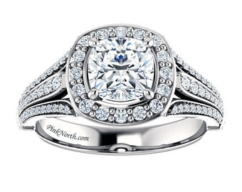 Cushion Cut Halo Engagement Ring - 1.48ctw Cushion Cut Forever Brilliant Moissanite and Diamonds