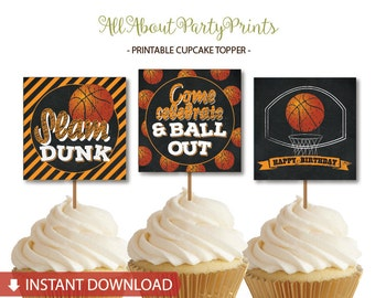 Instant Download-Basketball themed Cupcake Toppers printable -Favor Tags-Stickers -2inches