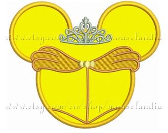 Cute miss mouse princess belle Applique Design   Instant Download 2sizes