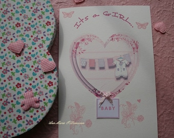 Beautiful handmade personalized  baby girl card, for that very special new arrival