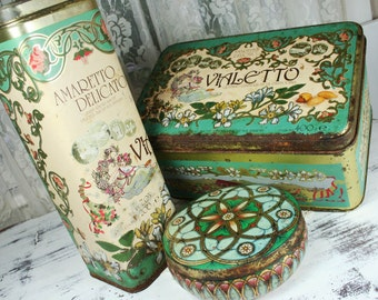 SET of 3 Naturally Aged Rusted Shabby Chic Decor Vintage Tins Boxes Vialetto and Meister