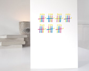 35th Birthday Card, minimalist design with 35 mulit-colour candles