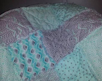 Mint and Gray toddler bed rag quilt! Gender Neutral, Great Gift!