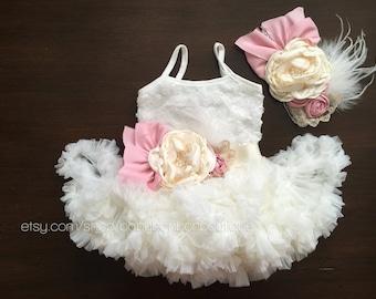 Baptism dress, baby girl fluffy dress, ivory ruffled dress, ivory dress, flower girl lace dress, baptism dress, christening dress