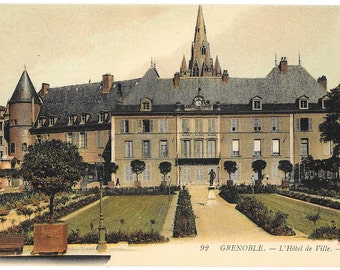 Grenoble. Hotel de Ville, France, WWI, Circa 1919 Postcard by Lucien Levy