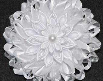 Handmade Girl's Hair Clip/Bow, Kanzashi Style, Christening/Wedding/Romany