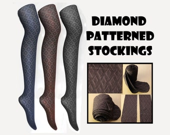 Diamond Patterned Stockings Colored Blue Brown Black free size tights hosiery Pantyhose