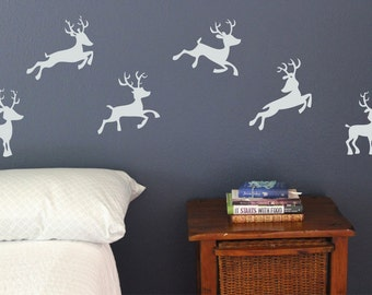 Santa's Reindeer, Wall Decals, Set of 6, Christmas Decoration