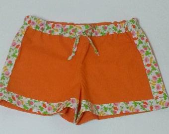 Little Girls Orange Floral Trim Shorts