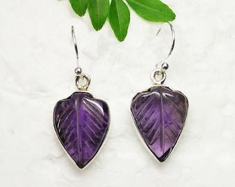 Natural PURPLE AMETHYST Gemstone Earrings, Birthstone Earrings, 925 Sterling Silver Earrings, Carving Handmade Earrings, Dangle Earrings