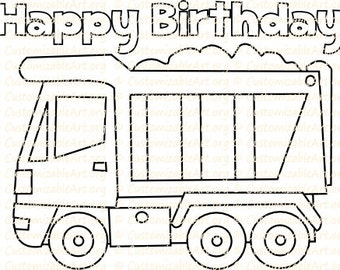 Truck Party Favor Printable Birthday Coloring Page Sheet Dump Cement Construction Theme Idea