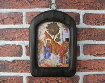 Triumphal entry into Jerusalem, Byzantine icons, Religious icons, Orthodox icon, Handmade , Gift for Valentine's Day