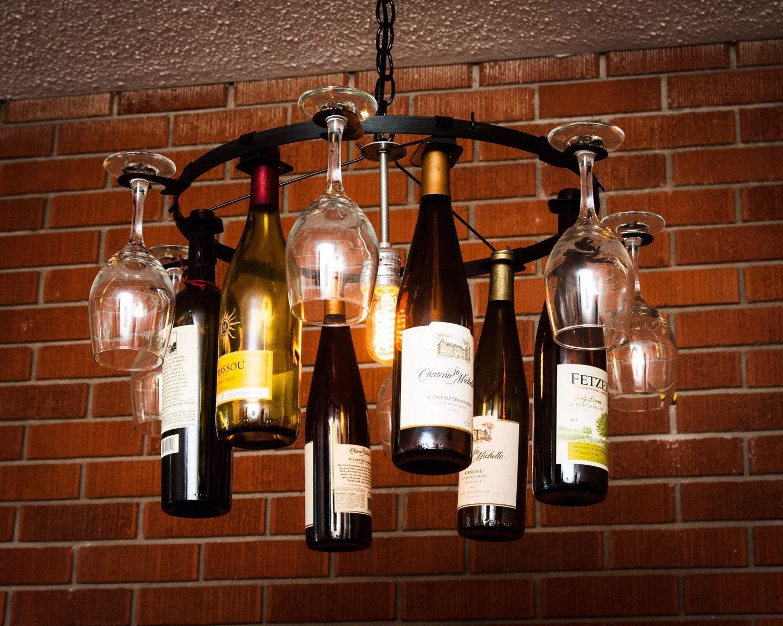 Wine glass bottle chandelier wine rack light lighting wine - Wine bottles chandelier ...
